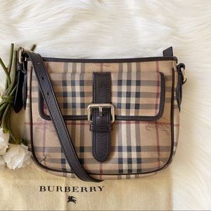 Burberry Nova Check & Leather Crossbody Bag